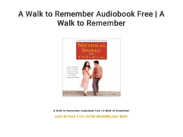 a walk to remember audiobook free download