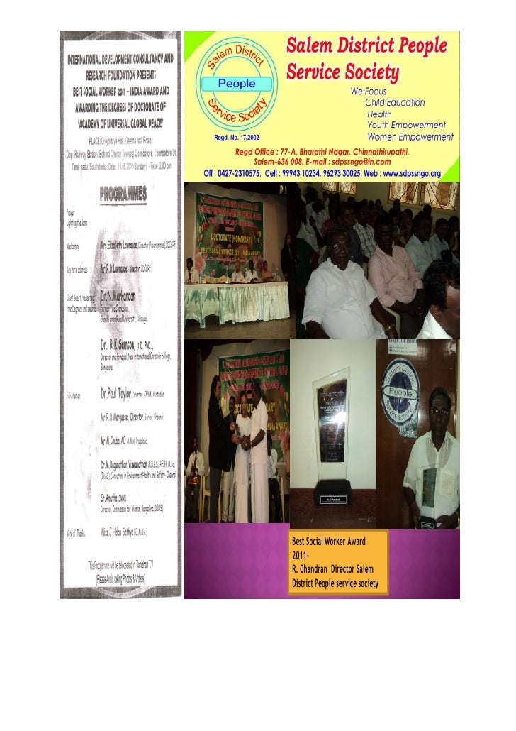 Best Social Worker Award2011-R. Chandran Director SalemDistrict People service society