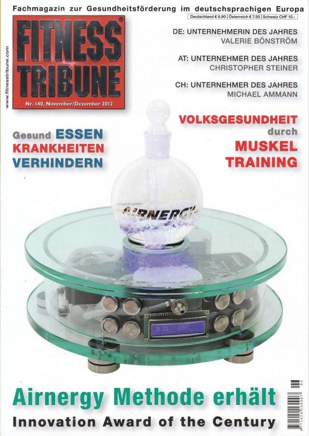 Fachmagazin zur Gesundheitsförderung im deutschsprachigen Europa ffi DE: UNTERNEHMERIN DES JAHRES VALERtE eÖNlSrnÖtvl AT: ...