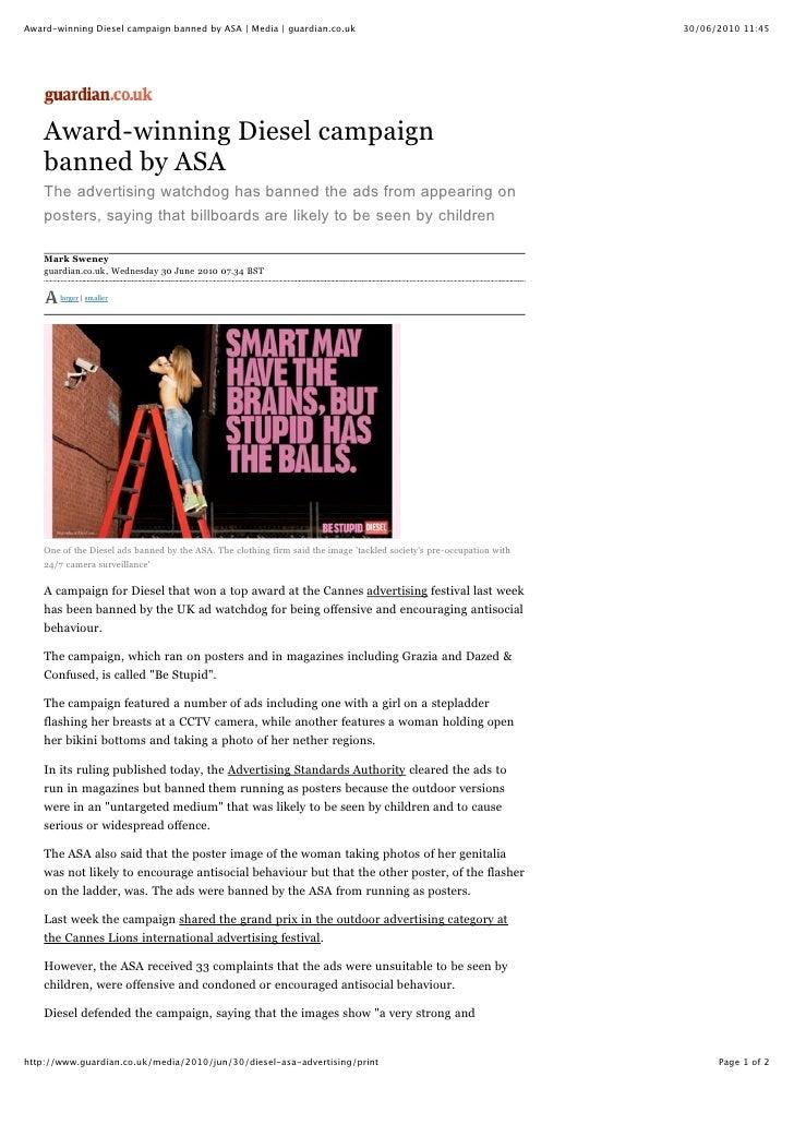 Award-winning Diesel campaign banned by ASA | Media | guardian.co.uk                                                   30/...
