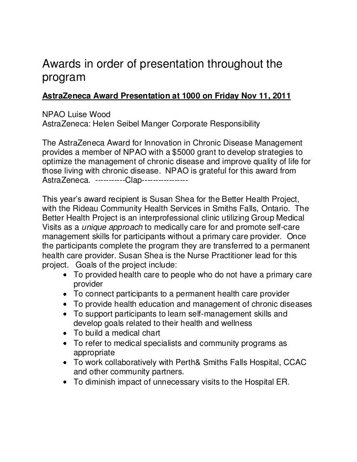 Awards in order of presentation throughout theprogramAstraZeneca Award Presentation at 1000 on Friday Nov 11, 2011NPAO Lui...