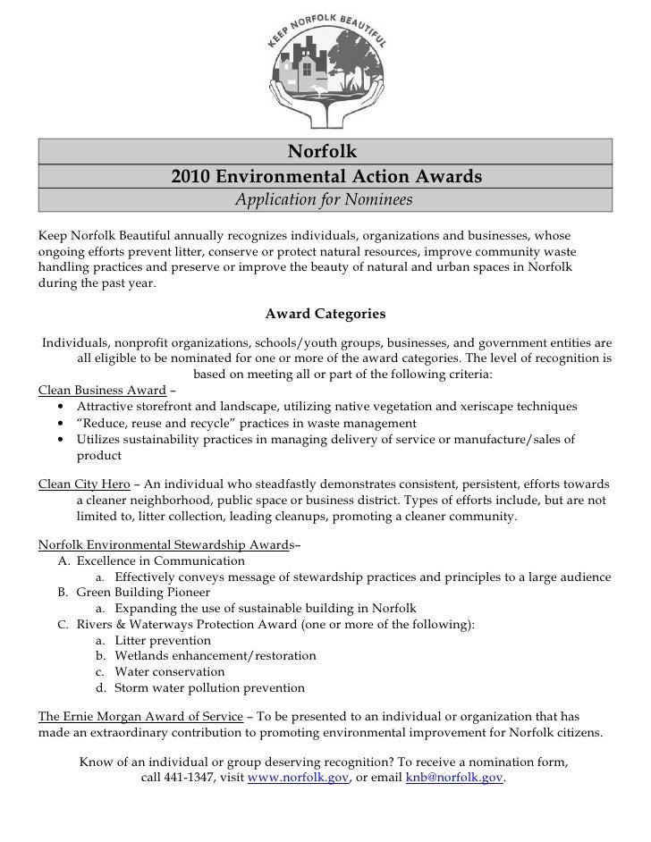 Norfolk                        2010 Environmental Action Awards                                    Application for Nominee...
