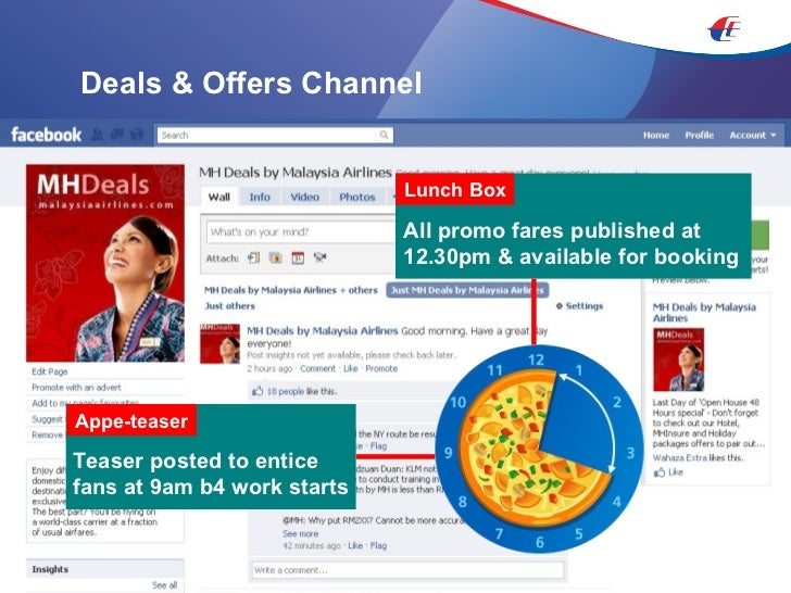Deals & Offers Channel Teaser posted to entice fans at 9am b4 work starts Appe-teaser All promo fares published at 12.30pm...