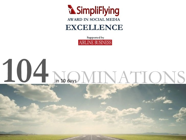 NOMINATIONS 104  in 10 days Supported by AWARD IN SOCIAL MEDIA  EXCELLENCE