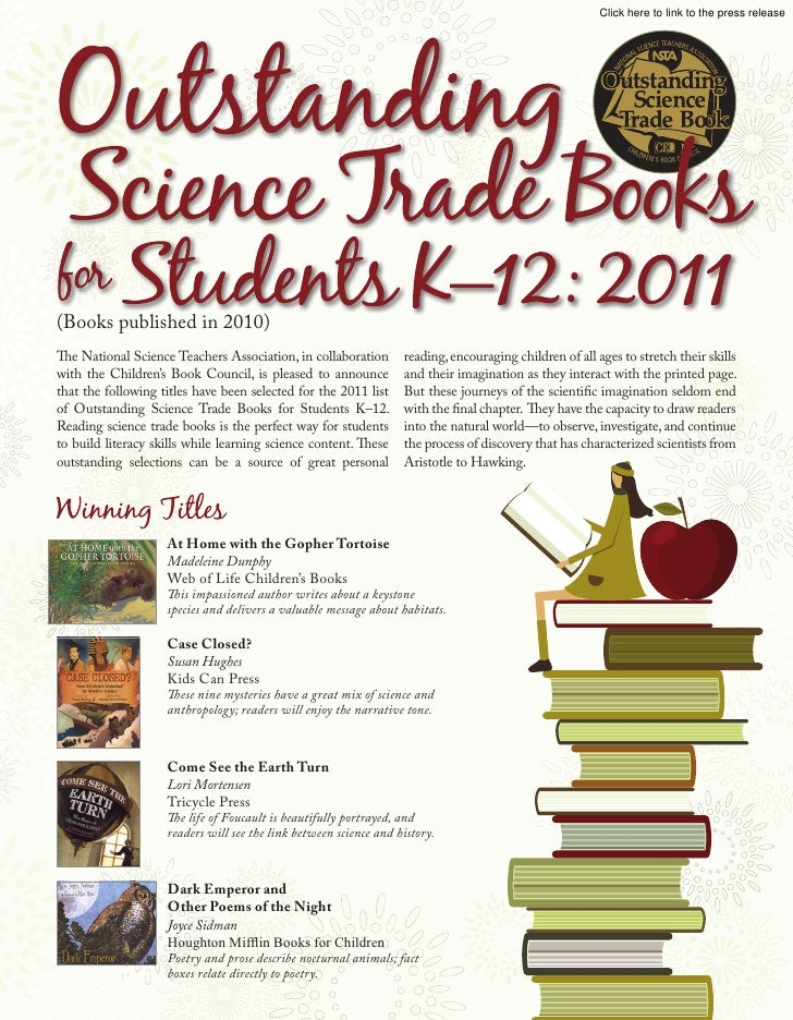 Click here to link to the press release(Books published in 2010)The National Science Teachers Association, in collaboratio...