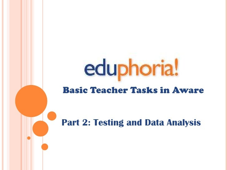 Basic Teacher Tasks in Aware<br />Part 2: Testing and Data Analysis<br />