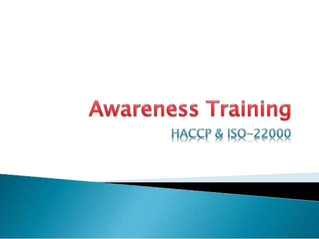 Awareness training on HACCP & ISO 22000