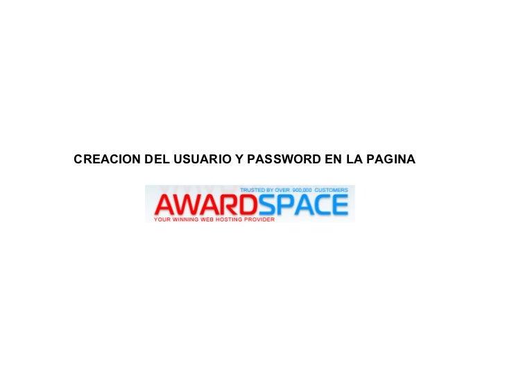 CREACION DEL USUARIO Y PASSWORD EN LA PAGINA