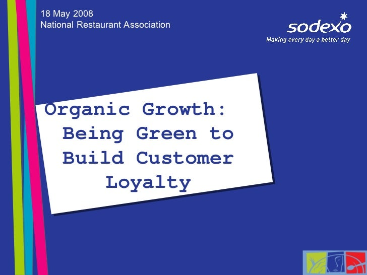 Organic Growth:  Being Green to Build Customer Loyalty 18 May 2008 National Restaurant Association