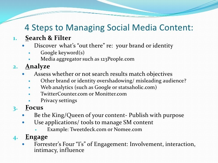 """4 Steps to Managing Social Media Content:<br />Search & Filter<br />Discover  what's """"out there"""" re:  your brand or identi..."""