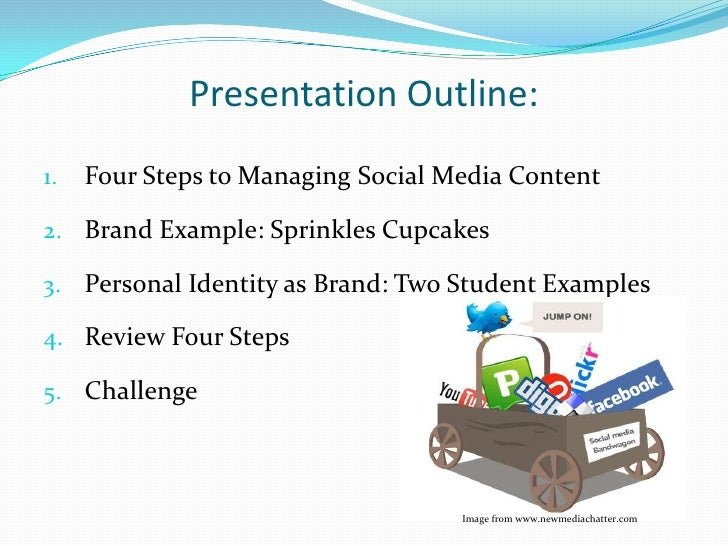 Presentation Outline:<br />Four Steps to Managing Social Media Content<br />Brand Example: Sprinkles Cupcakes<br />Persona...