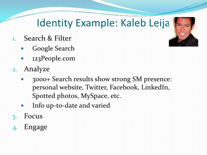 Identity Example: KalebLeija<br />Search & Filter<br />Google Search<br />123People.com<br />Analyze<br />3000+ Search res...