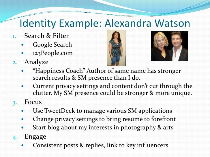 """Identity Example: Alexandra Watson<br />Search & Filter<br />Google Search<br />123People.com<br />Analyze<br />""""Happiness..."""