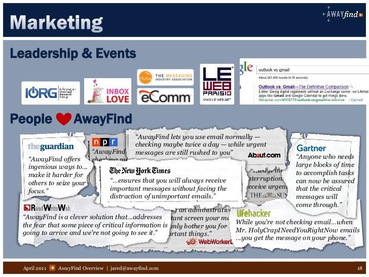"Leadership & EventsPeople             AwayFind                                          ""AwayFind lets you use email norma..."