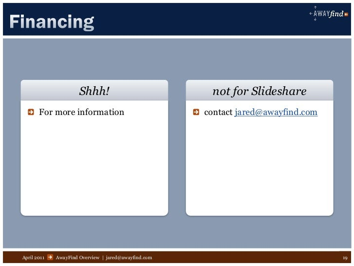 Shhh!                            not for Slideshare       For more information                           contact jared@awa...