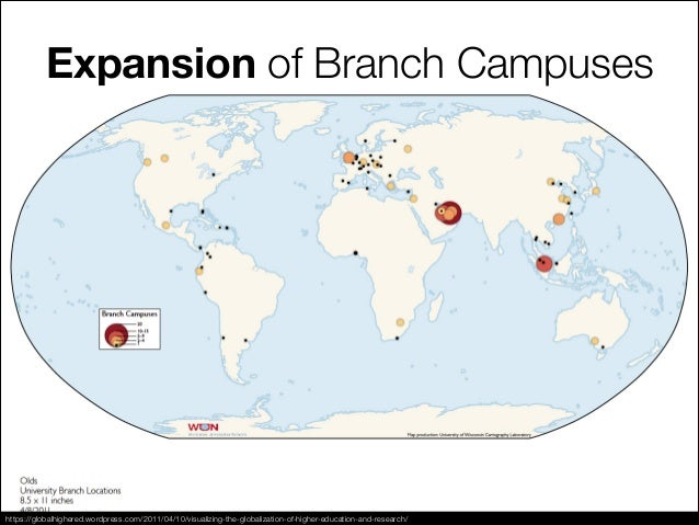 Expansion of Branch Campuses https://globalhighered.wordpress.com/2011/04/10/visualizing-the-globalization-of-higher-educa...