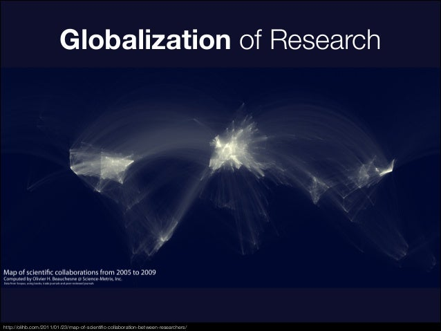 Globalization of Research http://olihb.com/2011/01/23/map-of-scientific-collaboration-between-researchers/