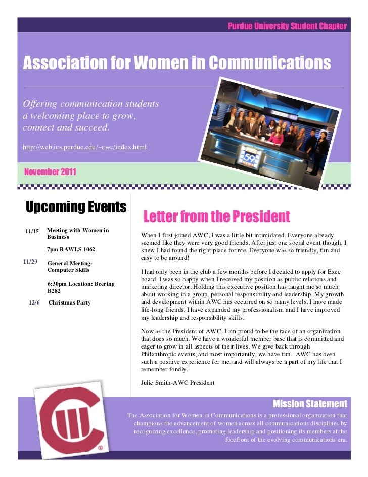 Purdue University Student ChapterAssociation for Women in CommunicationsOffering communication studentsa welcoming place t...