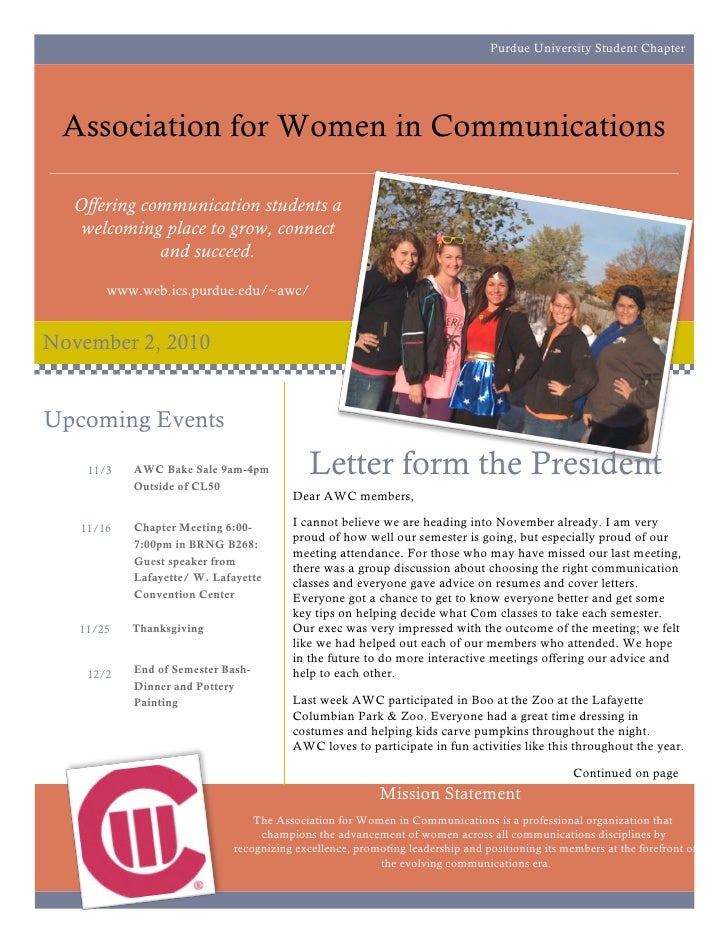 Purdue University Student Chapter      Association for Women in Communications    Offering communication students a    wel...