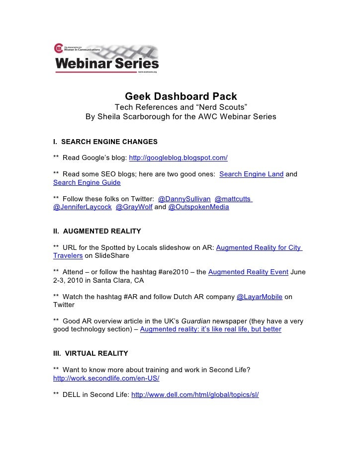 """Geek Dashboard Pack                  Tech References and """"Nerd Scouts""""           By Sheila Scarborough for the AWC Webinar..."""