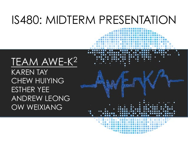 IS480: MIDTERM PRESENTATION TEAM AWE-K2 KAREN TAY CHEW HUIYING ESTHER YEE ANDREW LEONG OW WEIXIANG