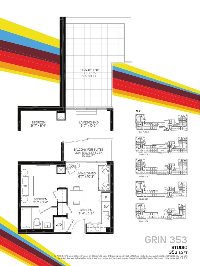 """GRIN 353 STUDIO 353 SQ FT LIVING/DINING 6' 7"""" x 10' 3"""" TERRACE FOR SUITE 227 232 SQ. FT. BALCONY FOR SUITES 334, 540, 637 ..."""