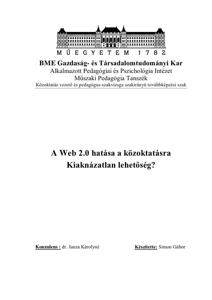BME Gazdaság- és Társadalomtudományi Kar      Alkalmazott Pedagógiai és Pszichológia Intézet              Műszaki Pedagógi...