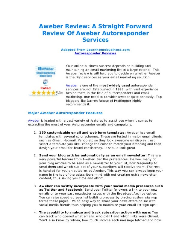 Aweber Review: A Straight Forward Review Of Aweber Autoresponder Services Adapted From Learnhomebusiness.com Autoresponder...