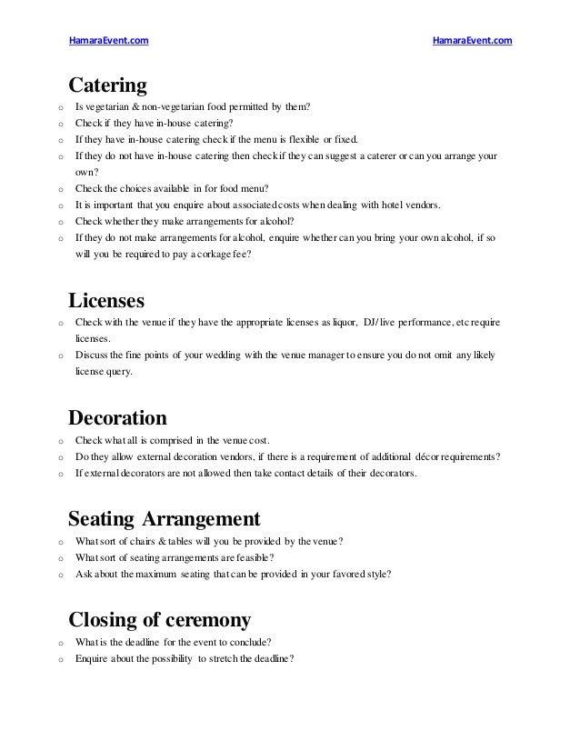 A wedding venue checklist
