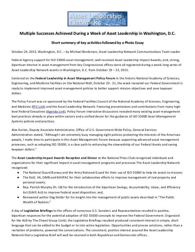Multiple Successes Achieved During a Week of Asset Leadership in Washington, D.C. Short summary of key activities followed...