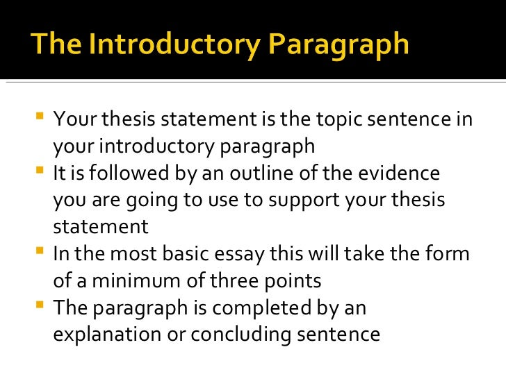 outline of a thesis paragraph