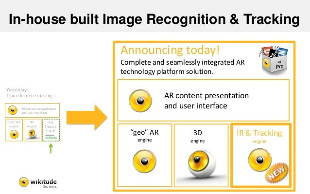 """In-house built Image Recognition & Tracking IR & Tracking Plug-in AR Content presentation and user interface 3D engine """"ge..."""