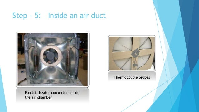 Electric heater connected inside the air chamber Thermocouple probes Step – 5: Inside an air duct
