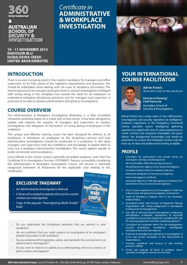 360  international  &  Certificate in ADMINISTRATIVE & WORKPLACE INVESTIGATION  10 - 11 NOVEMBER 2013 RADISSON BLU DUBAI DE...