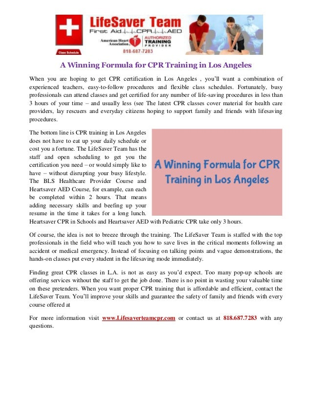 A Winning Formula For Cpr Training In Los Angeles