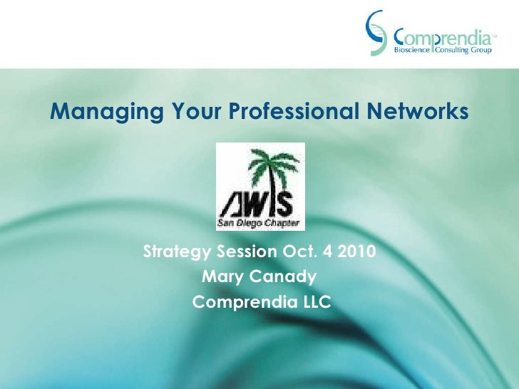 Managing Your Professional Networks Strategy Session Oct. 4 2010 Mary Canady Comprendia LLC