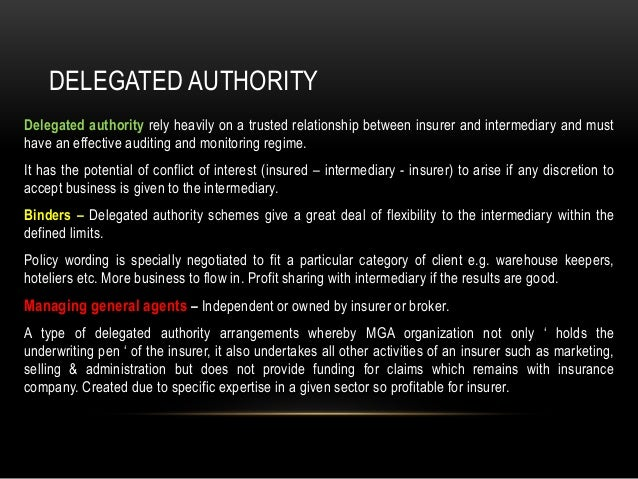 delegated underwriting authority definition
