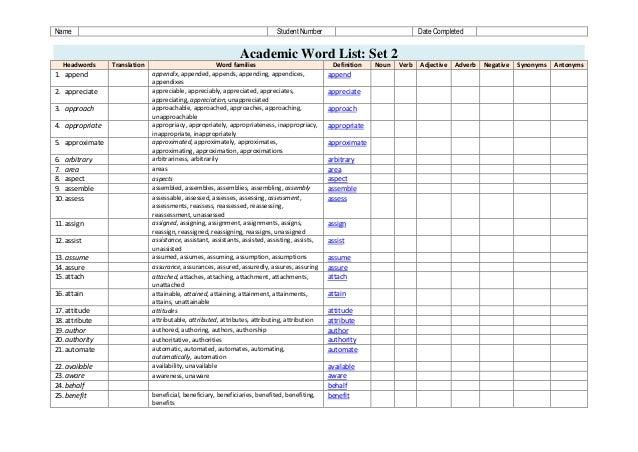 awl academic word list pdf
