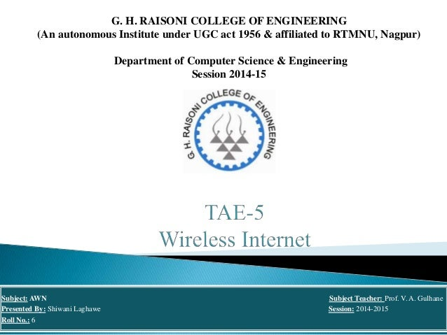 G. H. RAISONI COLLEGE OF ENGINEERING (An autonomous Institute under UGC act 1956 & affiliated to RTMNU, Nagpur) Department...