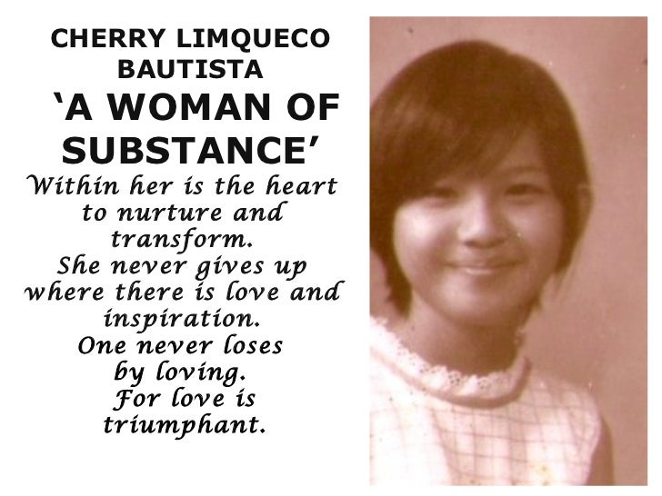 Cherry Limqueco Bautista A Woman Of Substance