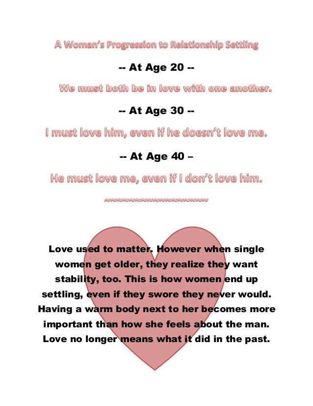 -- At Age 20 --  -- At Age 30 --  -- At Age 40 –  Love used to matter. However when single women get older, they realize t...