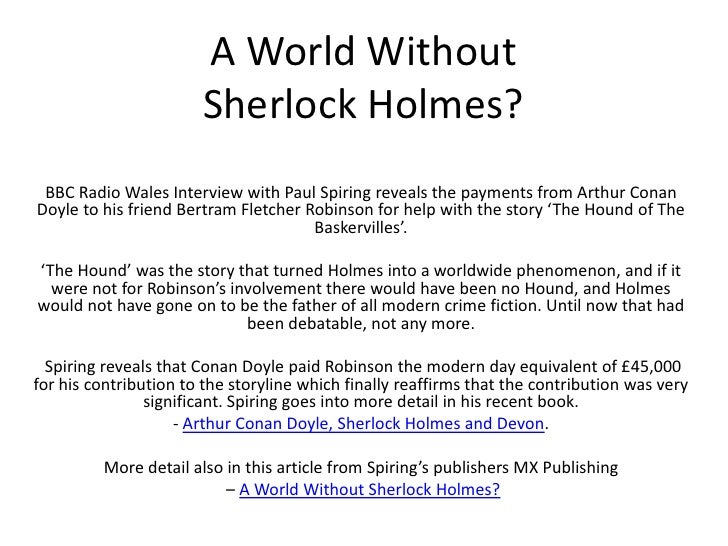 A World Without Sherlock Holmes? BBC Radio Wales Interview with Paul Spiring reveals the payments from Arthur Conan Doyle ...