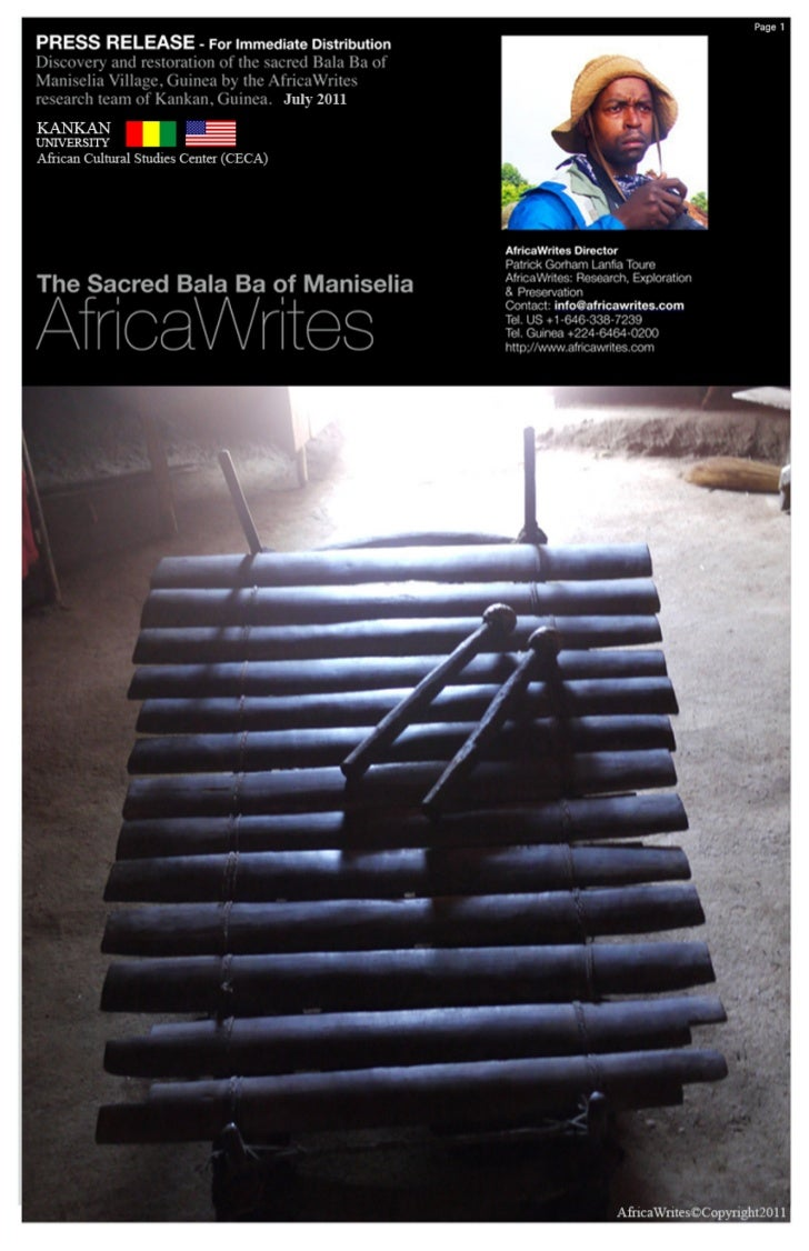 Press Release: The Sacred Bala Ba of Maniselia