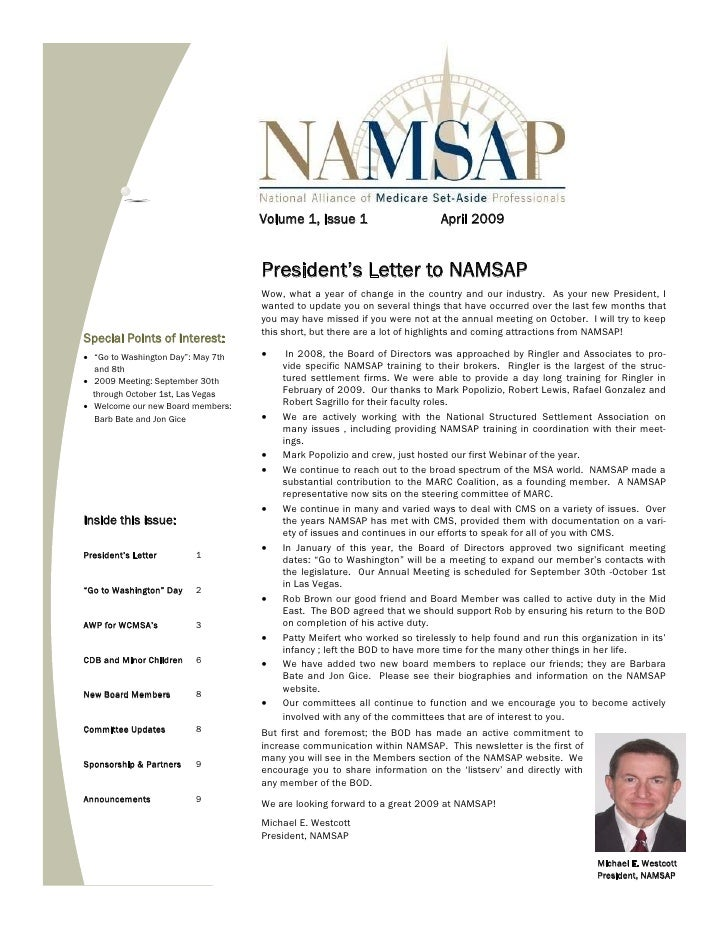 Volume 1, Issue 1                       April 2009                                        President's Letter to NAMSAP    ...