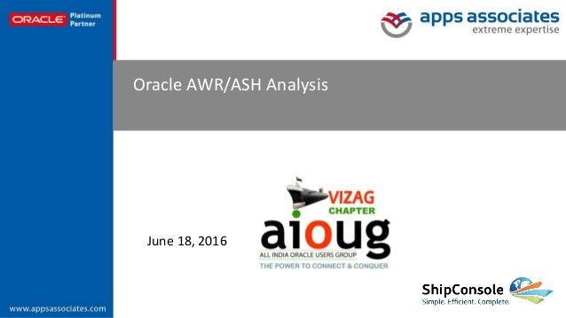© Copyright 2015. Apps Associates LLC. 1 Oracle AWR/ASH Analysis June 18, 2016
