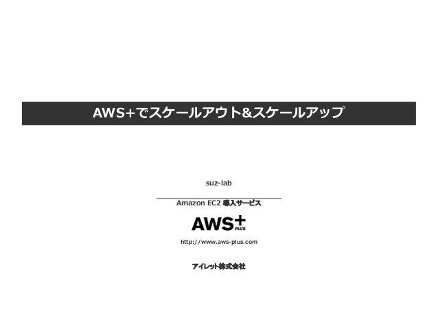 AWS+でスケールアウト&スケールアップ suz-lab Amazon EC2 導入サービス http://www.aws-plus.com アイレット株式会社