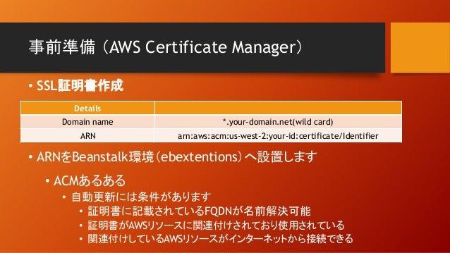 事前準備 (AWS Certificate Manager) Details Domain name *.your-domain.net(wild card) ARN arn:aws:acm:us-west-2:your-id:certific...