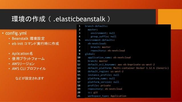 環境の作成 ( .elasticbeanstalk ) • config.yml • Beanstalk 環境設定 • eb init コマンド実行時に作成 • Aplication名 • 使用プラットフォーム • AWSリージョン • AWS...