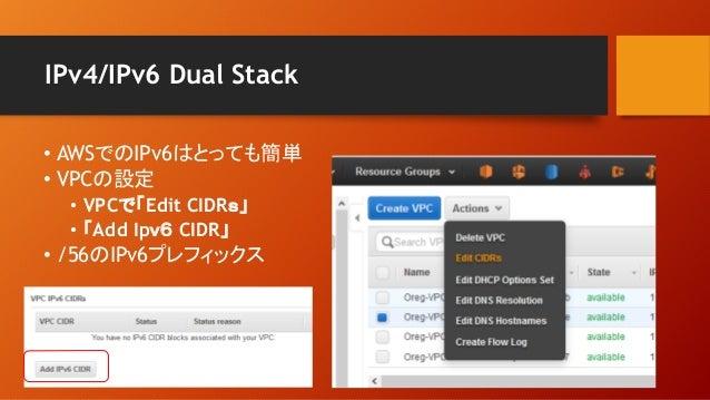 IPv4/IPv6 Dual Stack • AWSでのIPv6はとっても簡単 • VPCの設定 • VPCで「Edit CIDRs」 • 「Add Ipv6 CIDR」 • /56のIPv6プレフィックス