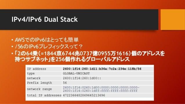 IPv4/IPv6 Dual Stack • AWSでのIPv6はとっても簡単 • /56のIPv6プレフィックスって? • 「2の64乗(=1844京6744兆0737億0955万1616)個のアドレスを 持つサブネット」を256個作れるグロ...
